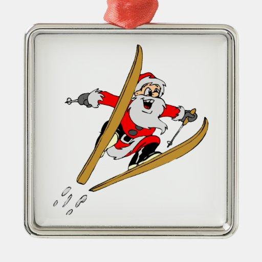 Esquí de la nieve adorno navideño cuadrado de metal