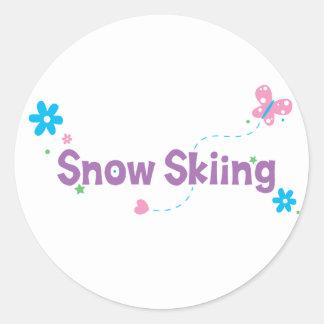 Esquí de la nieve del alboroto del jardín pegatina redonda