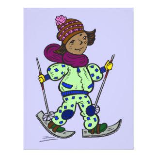"""Esquí de la nieve del chica folleto 8.5"""" x 11"""""""