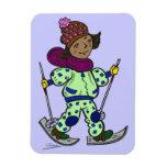 Esquí de la nieve del chica imán rectangular