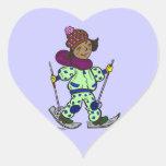 Esquí de la nieve del chica pegatinas de corazon personalizadas