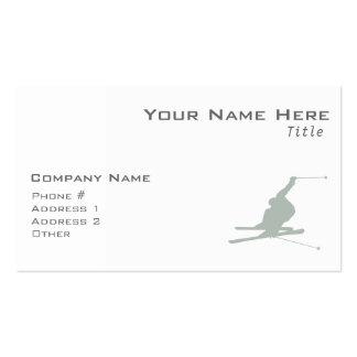Esquí de la nieve del gris de ceniza tarjetas de visita