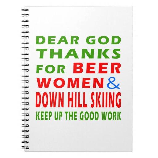 Esquí de las mujeres y abajo de la colina de la ce libros de apuntes
