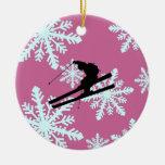 esquí de los copos de nieve adorno