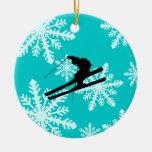 esquí de los copos de nieve adorno redondo de cerámica