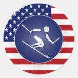 Esquí de los E.E.U.U. Etiquetas Redondas
