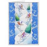 Esquí de los muñecos de nieve felicitacion