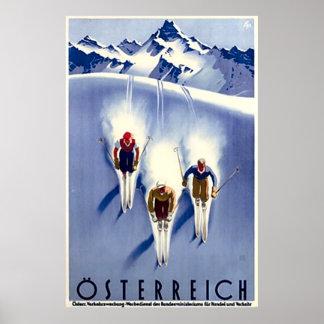 Esquí de Österreich del vintage Póster