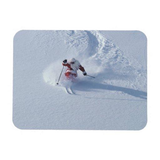 Esquí de Santa en la estación de esquí del Snowbir Imán De Vinilo