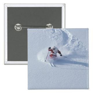 Esquí de Santa en la estación de esquí del Snowbir Pin Cuadrada 5 Cm
