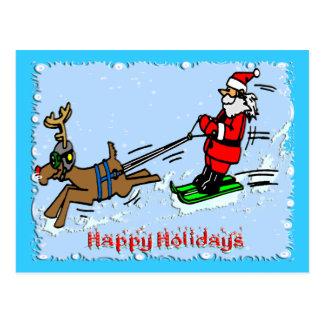 Esquí de Santa Tarjetas Postales