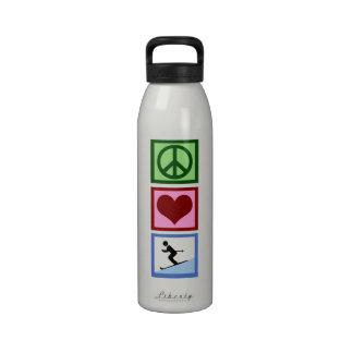 Esquí del amor de la paz botella de agua reutilizable