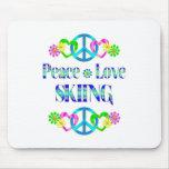 Esquí del amor de la paz alfombrilla de ratón