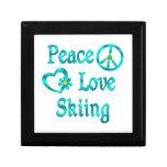 Esquí del amor de la paz caja de recuerdo