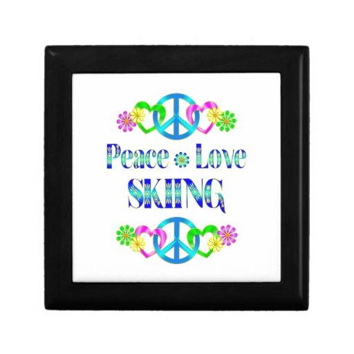 Esquí del amor de la paz cajas de recuerdo
