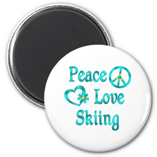 Esquí del amor de la paz imanes