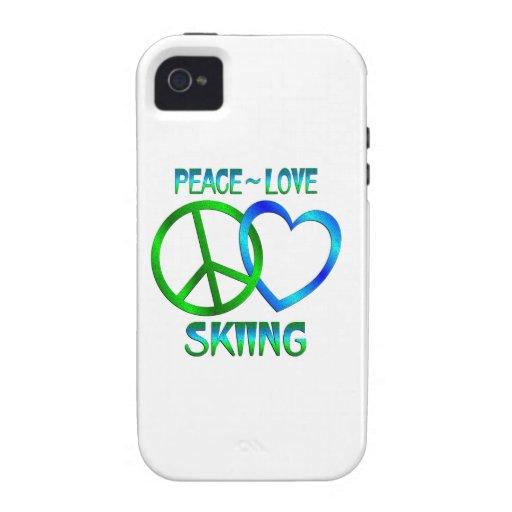 ESQUÍ del amor de la paz iPhone 4/4S Fundas