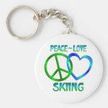 ESQUÍ del amor de la paz Llavero