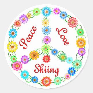 Esquí del amor de la paz pegatinas