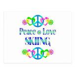 Esquí del amor de la paz postales