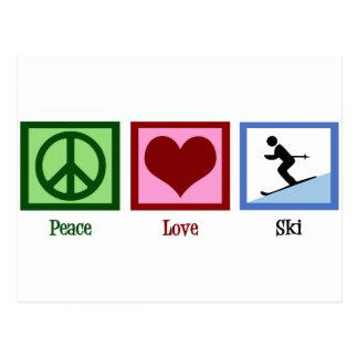 Esquí del amor de la paz tarjeta postal