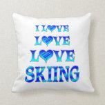 Esquí del amor del amor cojin