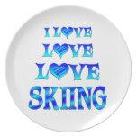 Esquí del amor del amor plato