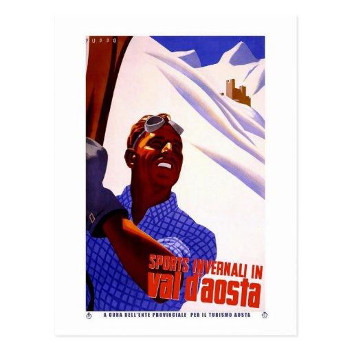 Esquí del anuncio del vintage del aosta del d de l