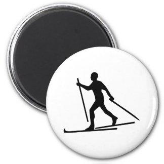 Esquí del campo a través imán redondo 5 cm