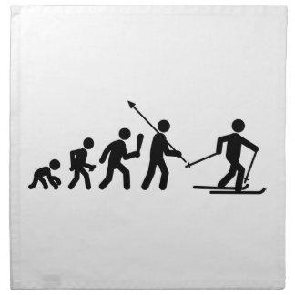 Esquí del campo a través servilleta de papel