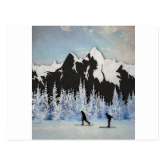 Esquí del campo a través tarjeta postal