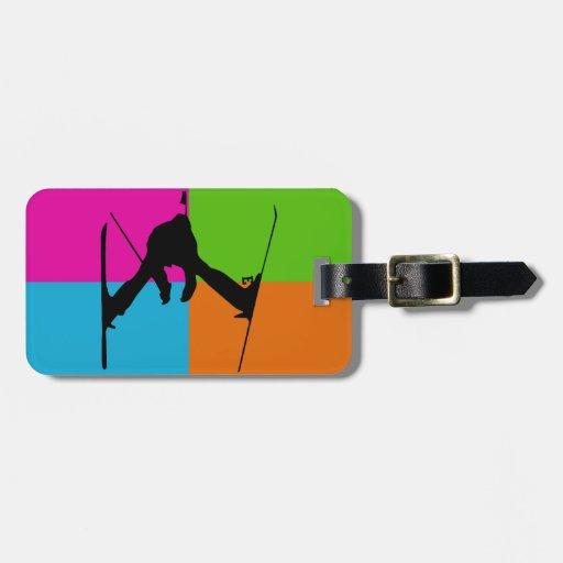 esquí del estilo libre etiqueta para maleta