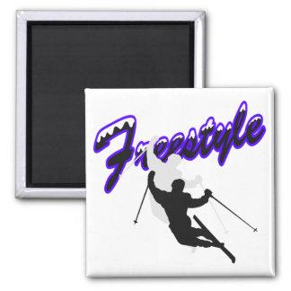 Esquí del estilo libre imán cuadrado
