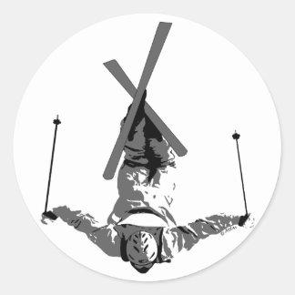 Esquí del estilo libre pegatina redonda