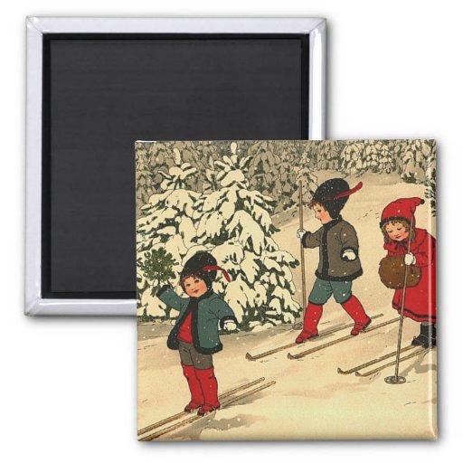 Esquí del invierno imanes de nevera