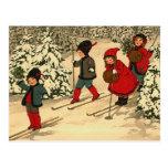 Esquí del invierno postal
