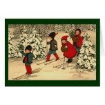 Esquí del invierno tarjeta de felicitación