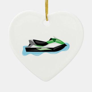 Esquí del jet adorno navideño de cerámica en forma de corazón