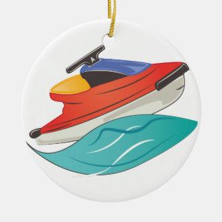 Esquí del jet adorno navideño redondo de cerámica