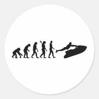Esquí del jet de la evolución etiqueta redonda