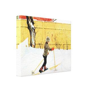 Esquí del muchacho de Carl Larsson en el hogar de Impresion De Lienzo