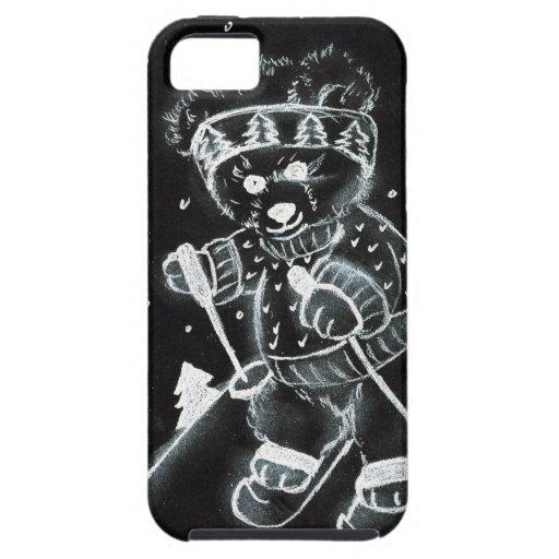 Esquí del oso de peluche en blanco y negro iPhone 5 Case-Mate carcasa
