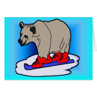 Esquí del oso polar tarjeta pequeña