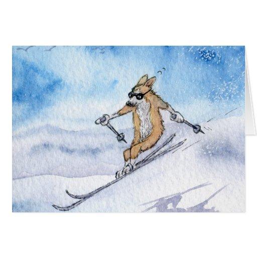 Esquí del perro del Corgi Galés Tarjeta De Felicitación
