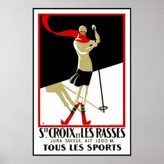Esquí del Ste Croix de la impresión del poster del