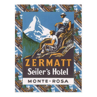 Esquí del vintage, el hotel de Seiler, Zermatt Postales