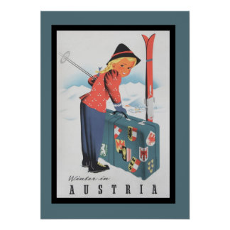 Esquí del vintage en el poster de Austria