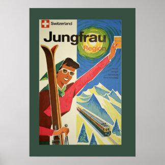 Esquí del vintage en el poster de Suiza