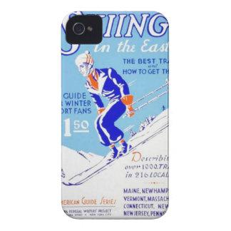 Esquí del vintage en el poster del este de WPA Case-Mate iPhone 4 Cárcasas
