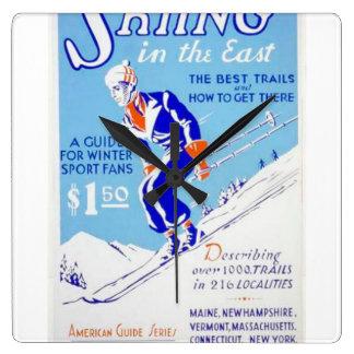 Esquí del vintage en el poster del este de WPA Reloj Cuadrado